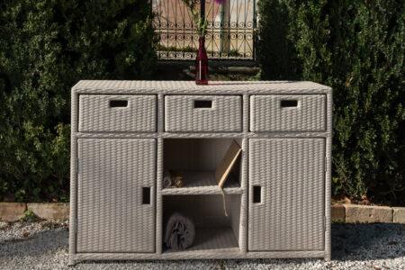 mobiletto 3 ante 3 cassetti per esterno colore bianco stone