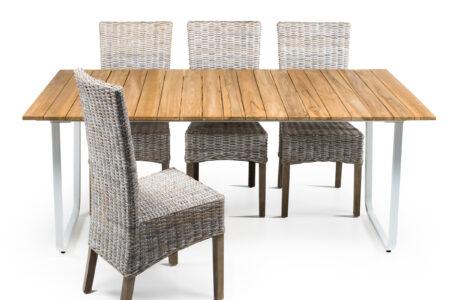 yukon tavolo outdoor con sedie kubu sbiancato