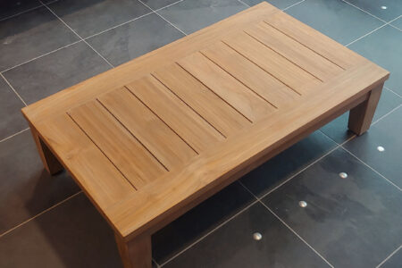 java teak coffee table top view