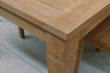java teak table detail brushed finishing