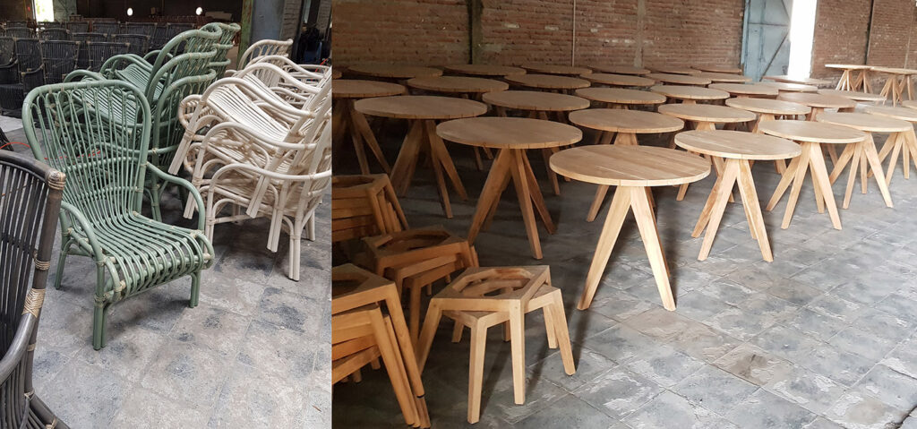 Our production capacity and flexybility for outdoor and interior furnishing supplies.