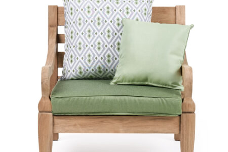 java armchair brushed teak premium cushions (front)